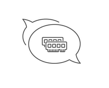 Ram line icon. Chat bubble design. Computer random-access memory component sign. Outline concept. Thin line ram icon. Vector
