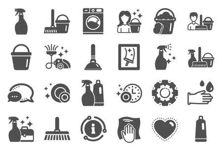 Icônes de nettoyage. Signes de blanchisserie, d'éponge et d'aspirateur. Machine à laver, service d'entretien ménager et symboles d'équipement de femme de chambre. Nettoyage des vitres et essuyage. Ensemble de qualité. Vecteur