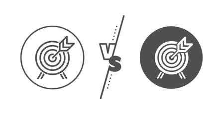 Señal de atracción del parque de atracciones. Versus concepto. Icono de línea de tiro con arco. Línea vs icono de tiro con arco clásico. Vector