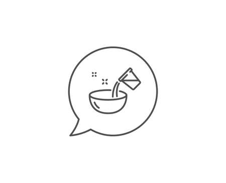 Cooking add water line icon. Chat bubble design. Bowl sign. Food preparation symbol. Outline concept. Thin line cooking water icon. Vector
