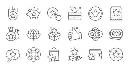 Loyalty program line icons. Bonus card, Redeem gift and discount coupon signs. Lottery ticket, Earn reward and winner gift icons. Linear set. Quality line set. Vector Illustration