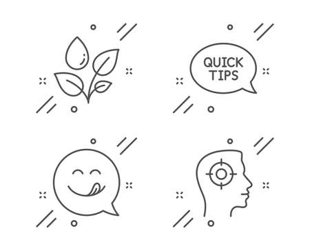 Quickstart guide, Plants watering and Yummy smile line icons set. Recruitment sign. Helpful tricks, Water drop, Emoticon. Headhunter aim. Business set. Line quickstart guide outline icon. Vector