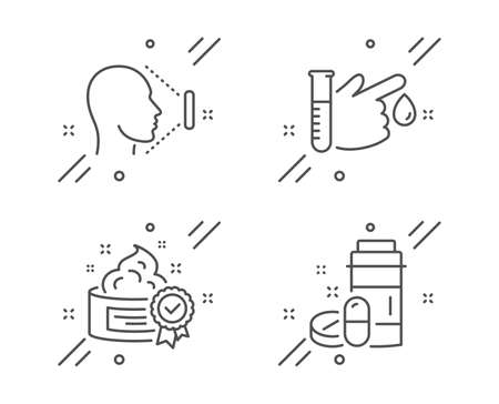 Cream, Face id and Blood donation line icons set. Medical drugs sign. Best lotion, Identification system, Medicine analyze. Medicine bottle. Healthcare set. Line cream outline icon. Vector