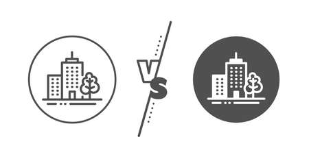 City architecture with tree sign. Versus concept. Skyscraper buildings line icon. Town symbol. Line vs classic skyscraper buildings icon. Vector