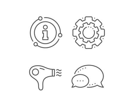 Icona della linea di asciugacapelli. Bolla di chat, elementi del segno di informazioni. Segno di asciugacapelli. Simbolo del servizio alberghiero. Icona di contorno di asciugacapelli lineare. Bolla di informazioni. Vettore Vettoriali