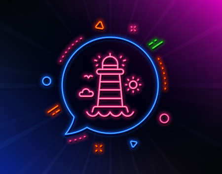 Lighthouse line icon. Neon laser lights. tower sign. Searchlight building symbol. Glow laser speech bubble. Neon lights chat bubble. Banner badge with lighthouse icon. Vector