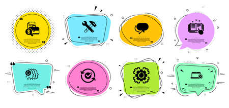 Seo gear, Technical documentation and Employees teamwork line icons set. Chat bubbles with quotes. Accounting report, Approved and Talk bubble signs. Spanner tool, Notebook service symbols. Vector