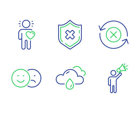 Friend, Reject protection and Like line icons set. Reject refresh, Rainy weather and Brand ambassador signs. Love, No security, Social media dislike. Update rejection. Business set. Vector Ilustração