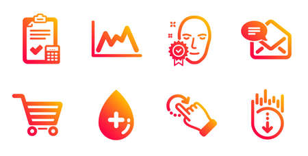 Accounting checklist, Face verified and Rotation gesture line icons set. Oil serum, Market sale and New mail signs. Diagram, Scroll down symbols. Calculator, Access granted. Business set. Vector