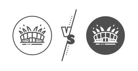 Sport complex sign. Versus concept. Arena stadium line icon. Championship building symbol. Line vs classic arena stadium icon. Vector