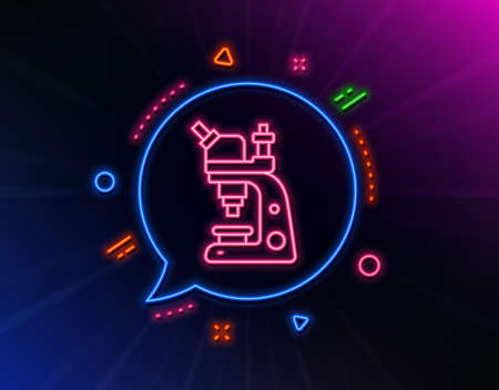 Microscope line icon. Neon laser lights. Chemistry lab sign. Analysis symbol. Glow laser speech bubble. Neon lights chat bubble. Banner badge with microscope icon. Vector