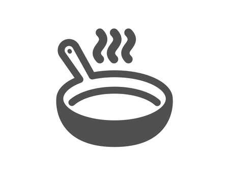 Segno di cottura. Icona di padella. Simbolo di preparazione del cibo. Stile piatto classico. Icona di padella semplice. Vettore