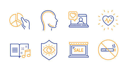 Pie chart, Heartbeat and Friends chat line icons set. Head, Sale and Music book signs. Eye protection, No smoking symbols. Presentation graph, Medical heart. Business set. Line pie chart icon. Vector
