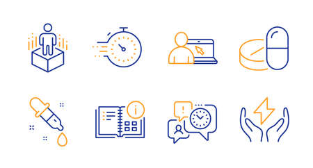 Timer, Augmented reality and Instruction info line icons set. Time management, Chemistry pipette and Online education signs. Medical drugs, Safe energy symbols. Line timer icon. Vector