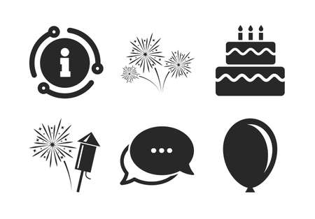 Cake and gift box signs. Chat, info sign. Birthday party icons. Air balloon and fireworks symbol. Classic style speech bubble icon. Vector