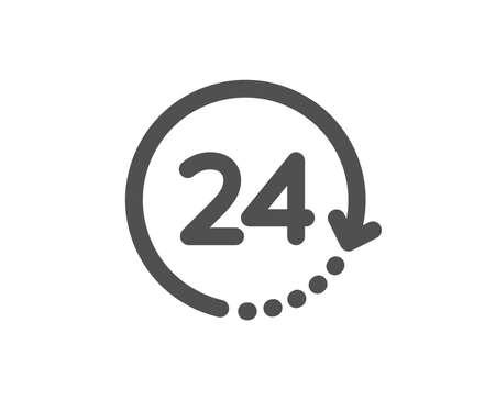 Segno dell'orologio. 24 ore di tempo icona. Simbolo dell'orologio. Stile piatto classico. Icona semplice 24 ore. Vettore