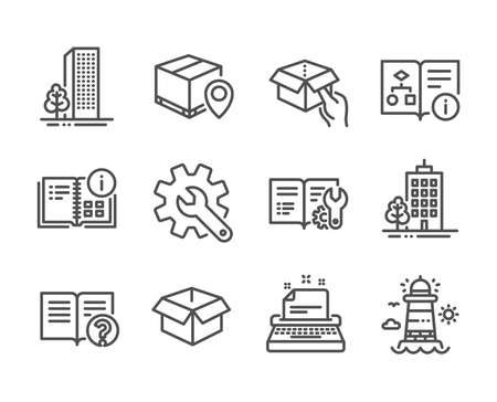 Set of Industrial icons, such as Hold box, Lighthouse, Typewriter, Help, Engineering documentation, Technical algorithm, Customisation, Skyscraper buildings, Opened box, Parcel tracking. Vector