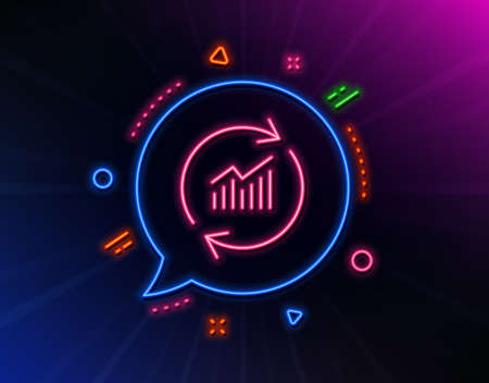 Chart line icon. Neon laser lights. Update Report graph or Sales growth sign. Analysis and Statistics data symbol. Glow laser speech bubble. Neon lights chat bubble. Vector
