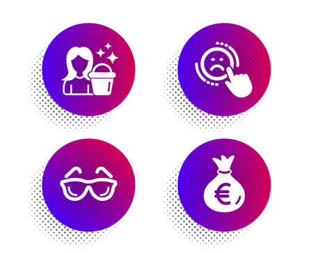 Dislike, Cleaning and Eyeglasses icons simple set. Halftone dots button. Money bag sign. Negative feedback, Maid service, Optometry. Euro currency. Business set. Classic flat dislike icon. Vector