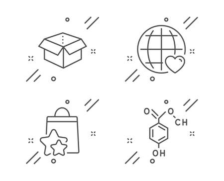 Open box, International love and Loyalty points line icons set. Chemical formula sign. Delivery package, Internet dating, Bonus bags. Chemistry. Technology set. Line open box outline icon. Vector Illusztráció