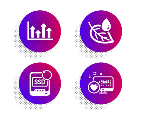 Leaf dew, Upper arrows and Recovery ssd icons simple set. Halftone dots button. Heart sign. Water drop, Growth infochart, Backup info. Social media. Business set. Classic flat leaf dew icon. Vector