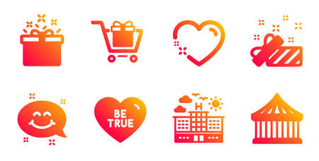 Be true, Shopping cart and Present line icons set. Smile chat, Special offer and Hotel signs. Heart, Carousels symbols. Love sweetheart, Gift box. Holidays set. Gradient be true icons set. Vector