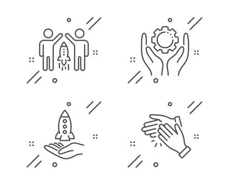 Employee hand, Crowdfunding and Partnership line icons set. Clapping hands sign. Work gear, Start business, Business startup. Clap. People set. Line employee hand outline icon. Vector Ilustração