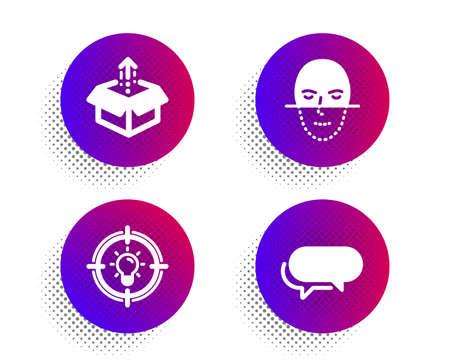 Idea, Face recognition and Send box icons simple set. Halftone dots button. Messenger sign. Solution, Faces biometrics, Delivery package. Speech bubble. Business set. Classic flat idea icon. Vector Illusztráció