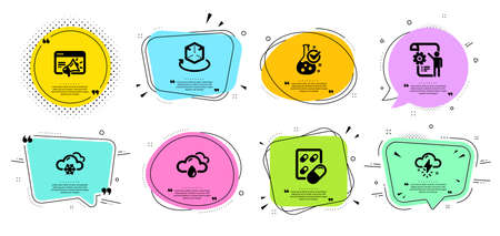 Thunderstorm weather, Snow weather and Chemistry lab line icons set. Chat bubbles with quotes. Capsule pill, Settings blueprint and Augmented reality signs. Seo marketing symbol. Vector