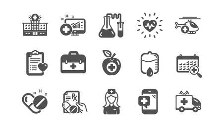 Medical icons. Hospital assistance, Health food diet and Laboratory. Chemistry classic icon set. Quality set. Vector