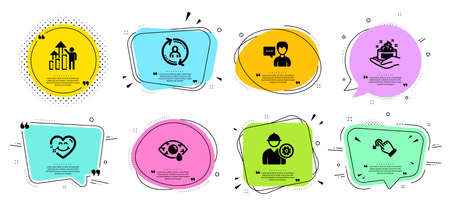 Skin care, Smile face and Ð¡onjunctivitis eye line icons set. Chat bubbles with quotes. Drag drop, User info and Person talk signs. Engineer, Employee results symbols. Hand cream, Love heart. Vector 일러스트