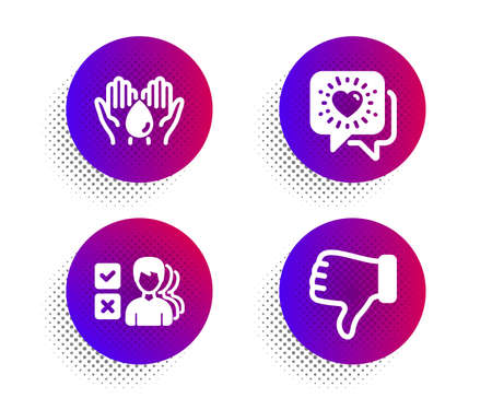 Friends chat, Opinion and Wash hands icons simple set. Halftone dots button. Dislike hand sign. Friendship, Choose answer, Skin care. Thumbs down. People set. Classic flat friends chat icon. Vector