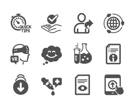 Set of Technology icons, such as Technical info, Augmented reality, View document, Swipe up, Approved, Quick tips, Smile, Chemistry pipette, Eco energy, Refer friend, Chemistry flask. Vector