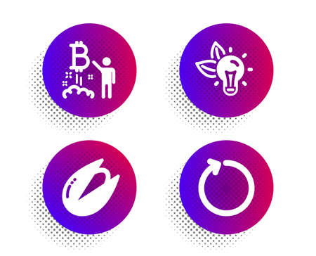 Bitcoin project, Pistachio nut and Eco energy icons simple set. Halftone dots button. Loop sign. Cryptocurrency startup, Vegetarian food, Lightbulb. Refresh. Business set. Vector