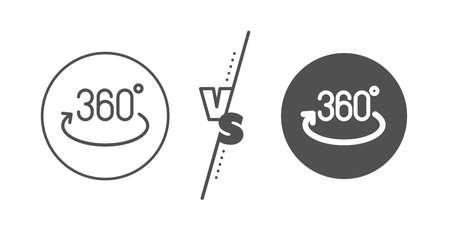 Full rotation sign. Versus concept. 360 degree line icon. VR technology simulation symbol. Line vs classic full rotation icon. Vector Illustration