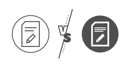 Information File sign. Versus concept. Edit Document line icon. Paper page with pencil concept symbol. Line vs classic edit document icon. Vector