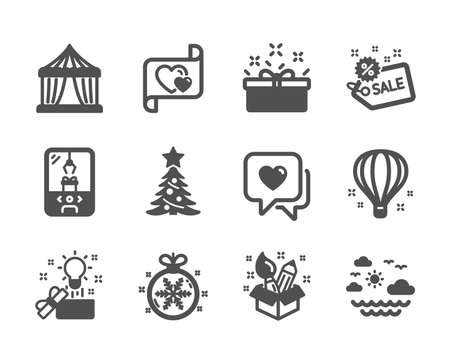 Set of Holidays icons, such as Travel sea, Creative idea, Christmas ball, Love letter, Creativity, Heart, Christmas tree, Sale, Present box, Air balloon, Crane claw machine, Circus tent. Vector