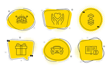 Hold heart, Sports arena and Facts signs. Chat bubbles. Car, Shoulder strap and Gift box line icons set. Transport, Star rank, Present package. Friendship. Business set. Line car icon. Vector  イラスト・ベクター素材