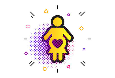 Pregnant sign icon. Halftone dots pattern. Women Pregnancy symbol. Classic flat pregnant icon. Vector Banque d'images - 132246889