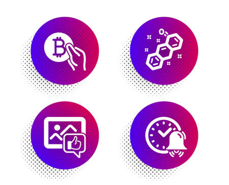 Like photo, Chemical formula and Bitcoin pay icons simple set. Halftone dots button. Alarm bell sign. Thumbs up, Chemistry, Cryptocurrency coin. Time. Business set. Vector Illusztráció