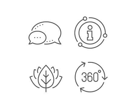 360 degree line icon. Chat bubble, info sign elements. VR technology simulation sign. Panoramic view symbol. Linear 360 degree outline icon. Information bubble. Vector