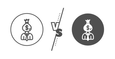 Dollar money bag sign. Versus concept. Businessman earnings line icon. Line vs classic manager icon. Vector