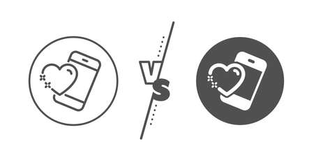 Love emotion sign. Versus concept. Heart with phone line icon. Valentine day symbol. Line vs classic heart icon. Vector