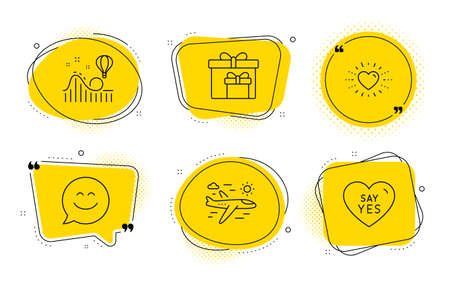 Heart, Smile chat and Say yes signs. Chat bubbles. Airplane travel, Delivery boxes and Roller coaster line icons set. Trip flight, Birthday gifts, Attraction park. Love. Holidays set. Vector Фото со стока - 132246966