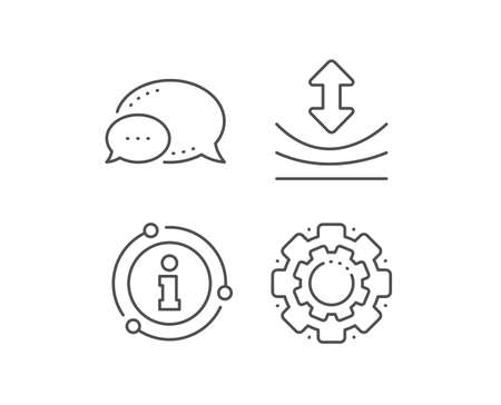 Resilience line icon. Chat bubble, info sign elements. Elastic material sign. Linear resilience outline icon. Information bubble. Vector