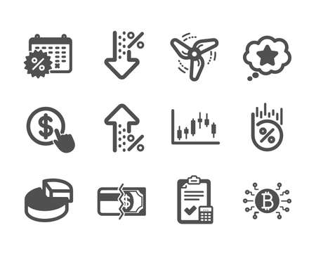 Set of Finance icons, such as Loan percent, Loyalty star, Buy currency, Increasing percent, Wind energy, Pie chart, Calendar discounts, Payment methods, Accounting checklist classic icons. Vector