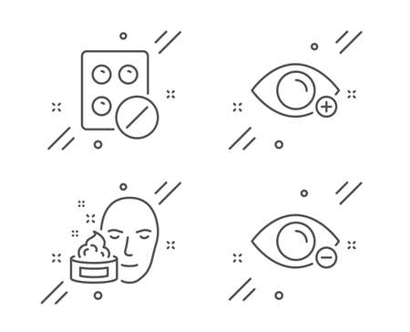Farsightedness, Medical tablet and Face cream line icons set. Myopia sign. Eye vision, Medicine pill, Gel. Healthcare set. Line farsightedness outline icon. Vector Banco de Imagens - 132247284