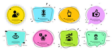 Eye laser, Click hand and Teamwork line icons set. Chat bubbles with quotes. Security, Winner podium and Teamwork results signs. Like hand, Shipping support symbols. Vector