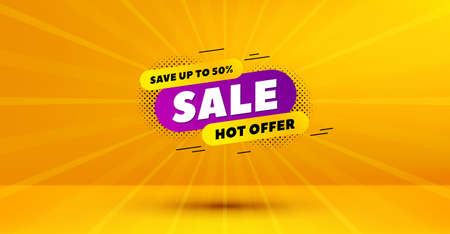 Discount banner shape. Sale 30% off badge. Hot offer icon. Abstract yellow background. Modern concept design. Banner with offer badge. Vector 向量圖像