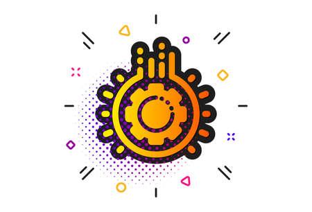 Teamwork cogwheel sign. Halftone circles pattern. Gear icon. Working process symbol. Classic flat gear icon. Vector
